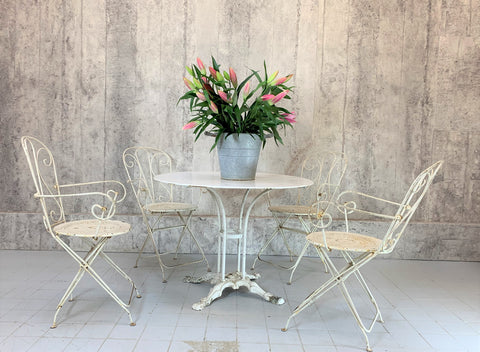 1930's 4 Folding White Metal Garden Chairs and Table