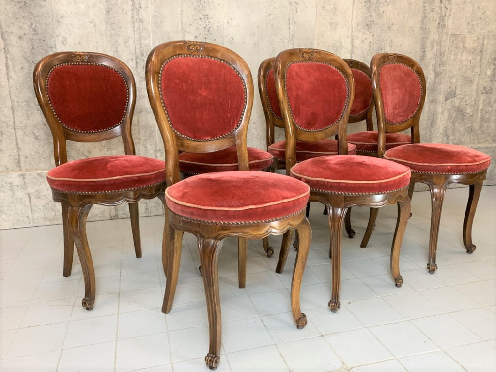 Set of 7 French Dining Chairs with Original Velvet Upholstery