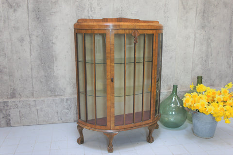 1930's Glass Bow Front Veneer Display Cabinet with Cabriole Legs