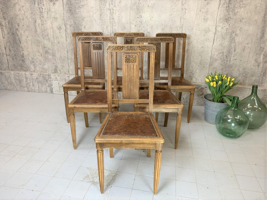 Set of Six 1930's Leather Seat Dining Chairs