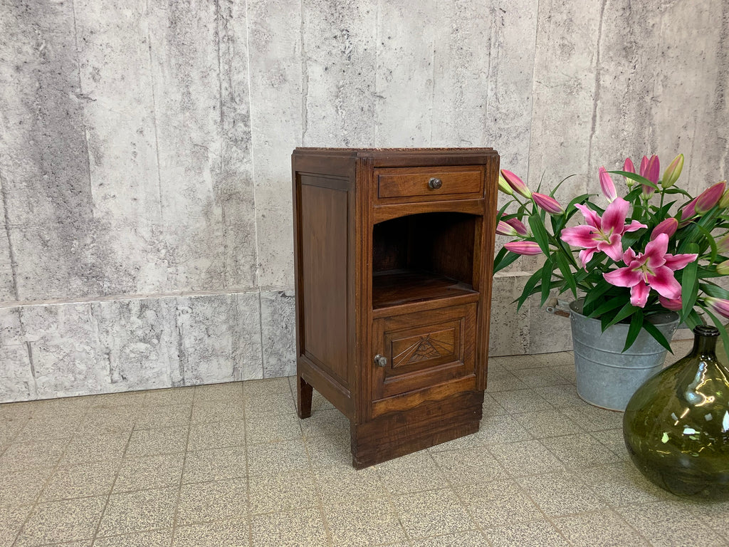 1930's Geometric Design Marble and Walnut Wood Bedside Cabinet