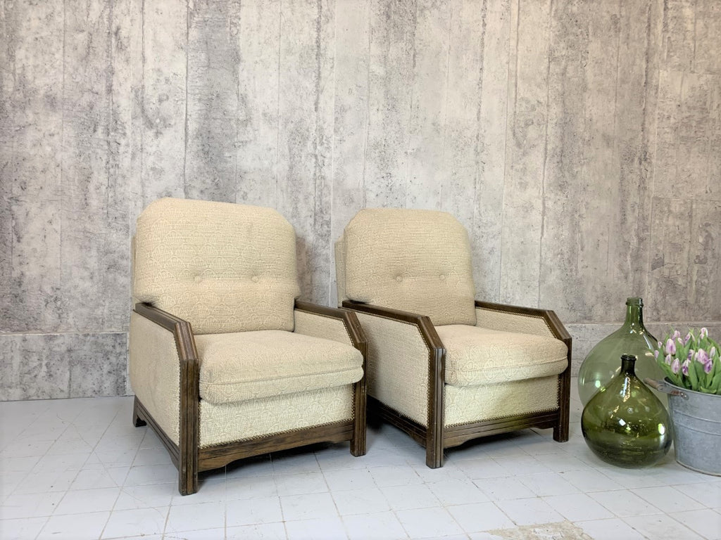 Pair of Art Deco Style Mid Century Lounge Armchairs to reupholster