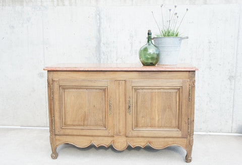 19th Century Marble Top Oak Side Board / Cupboard