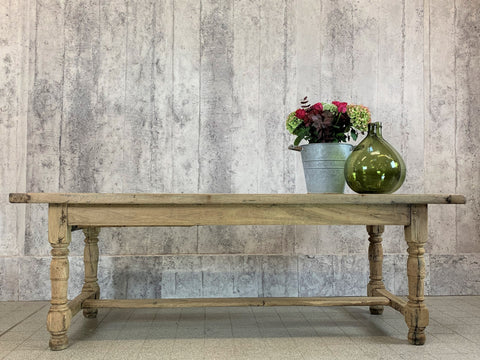 221cm Solid Oak French Farmhouse Refectory Dining Table