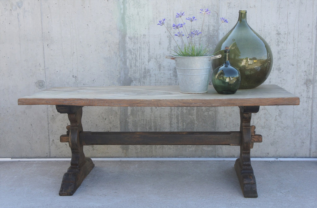 201cm Solid Oak French Farmhouse Refectory Dining Console Table