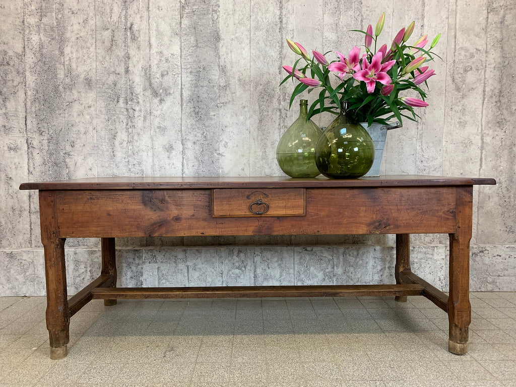 202.5cm Solid Oak French Farmhouse Dining Table Console Serving Table