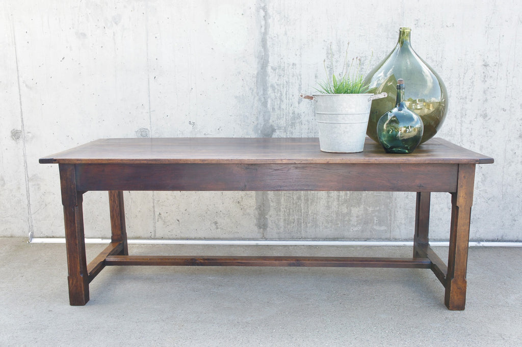209.5cm Oak Farmhouse Refectory Dining Table with 2 Drawers