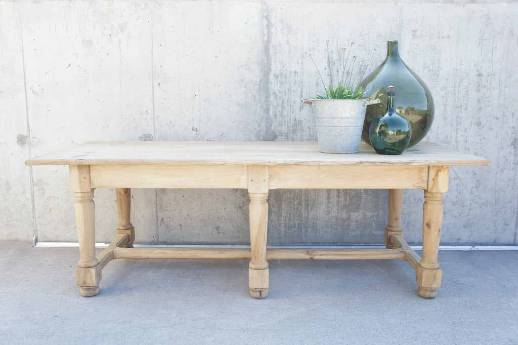 229.5cm Six Leg Stripped Oak Refectory French Farmhouse Dining Table