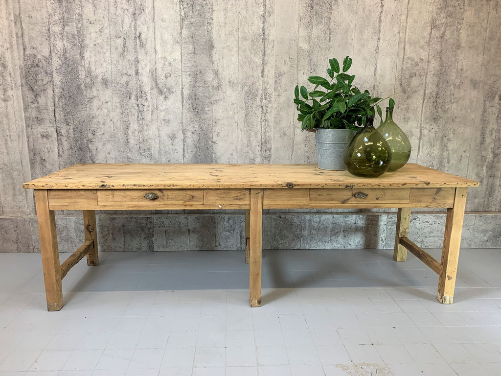 259.5cm Vintage Laboratory Work Bench Solid Pine Farmhouse Dining Table
