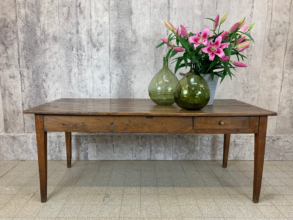 187cm 19th Century Farmhouse Table Oak and Cherry Wood with 1 Drawer and Tapered Legs