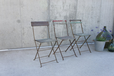 Set of 3 Shabby Painted Folding Bistro Chairs