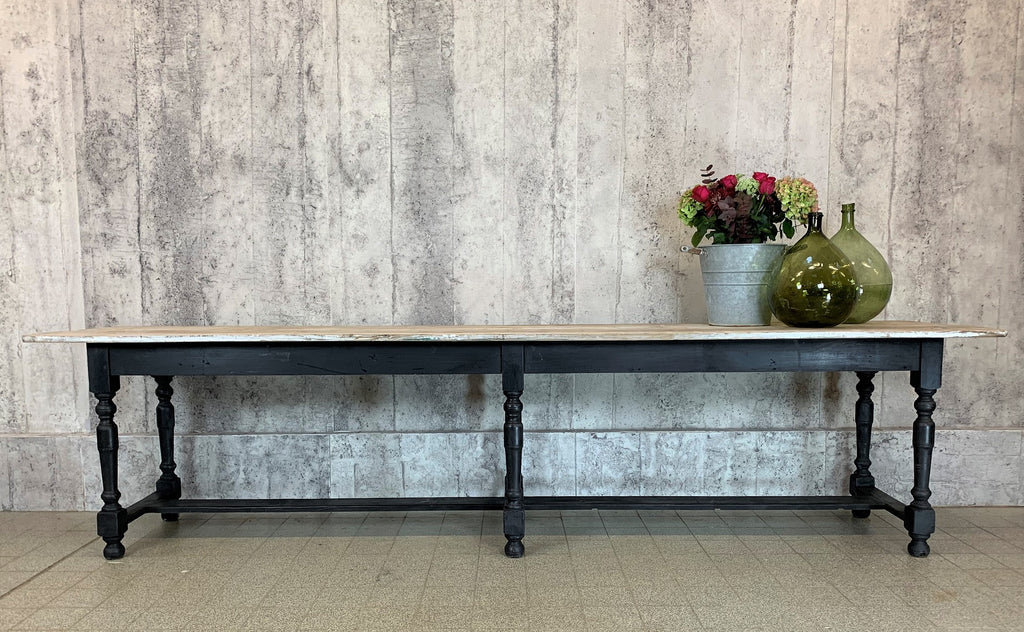 307cm Black Turned Leg Farmhouse Dining Console Refectory Table