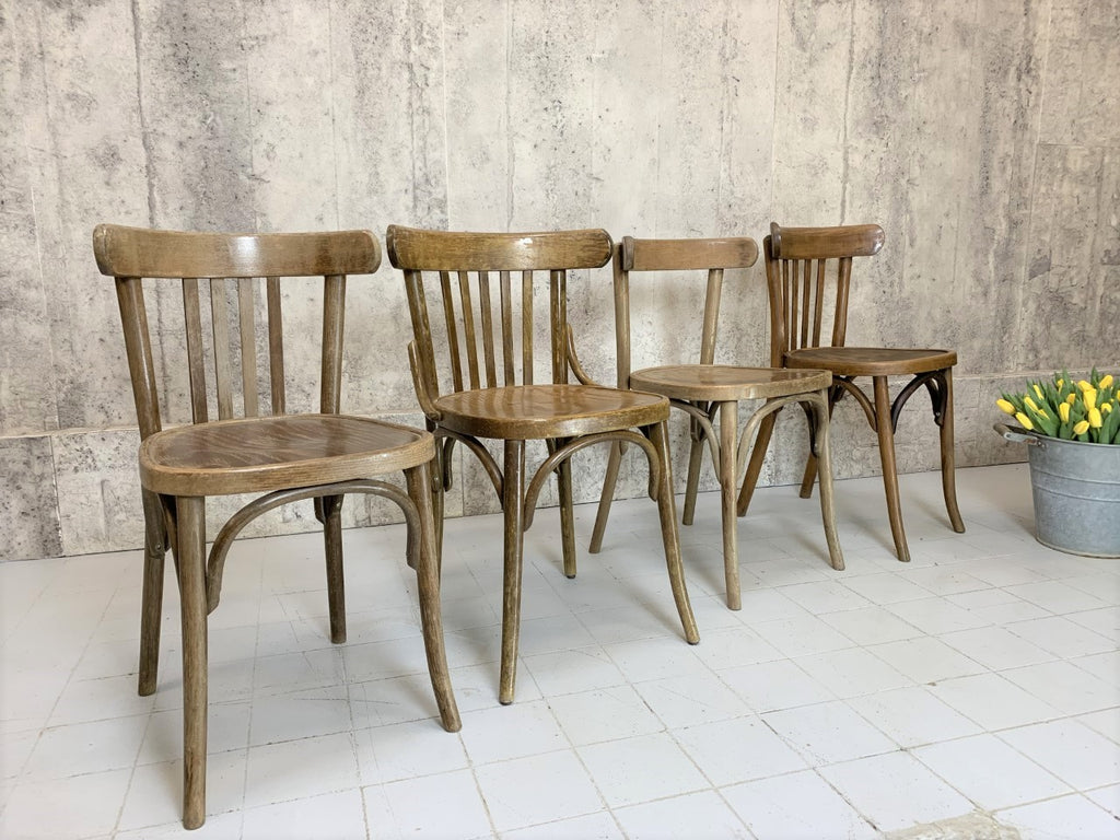 Set of Four Individual Low Bentwood French Bistro Dining Chairs