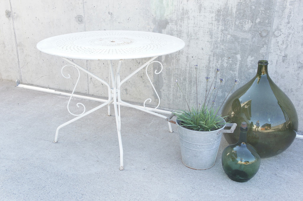 White 96.5cm wide Metal Garden Dining Table