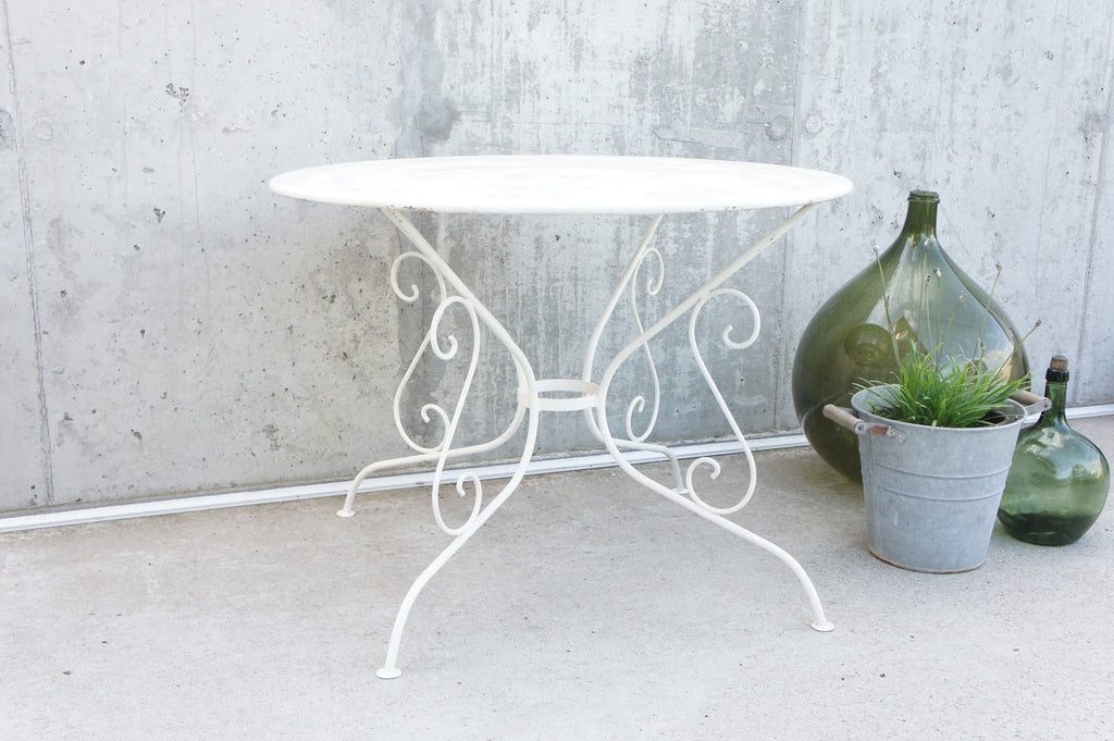 White 97cm Wide Perforated Metal Garden Dining Table