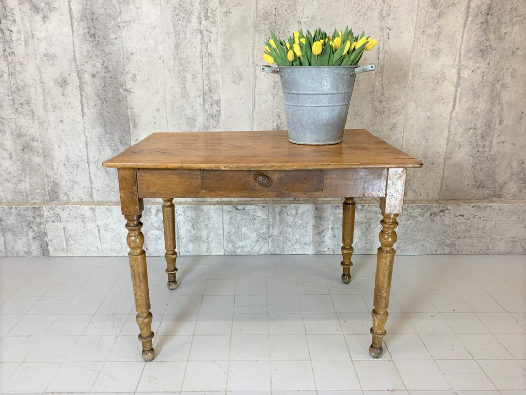 98.5cm Traditional French Turned Leg Walnut Wood One Drawer Table Desk