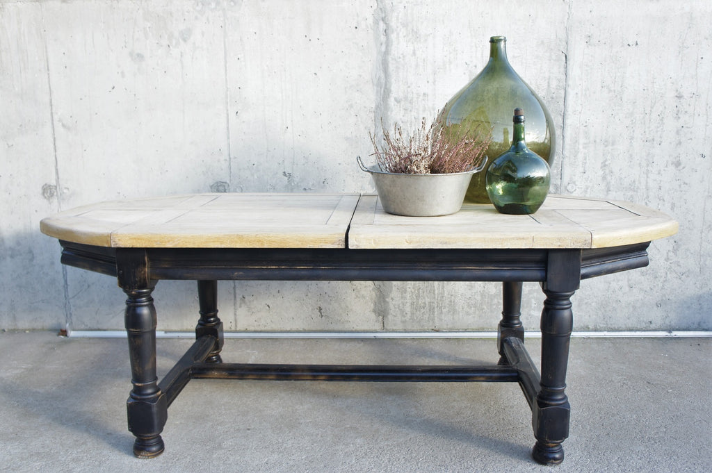Black Legged Extendable Farmhouse Refectory Dining Table