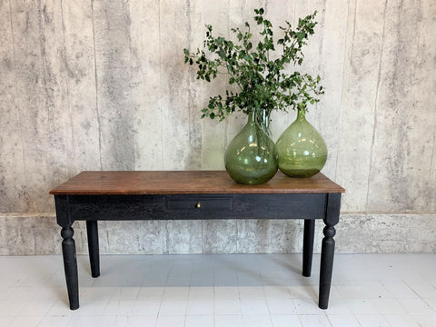 152cm Solid Oak with Black Turned Legs Console Table Desk