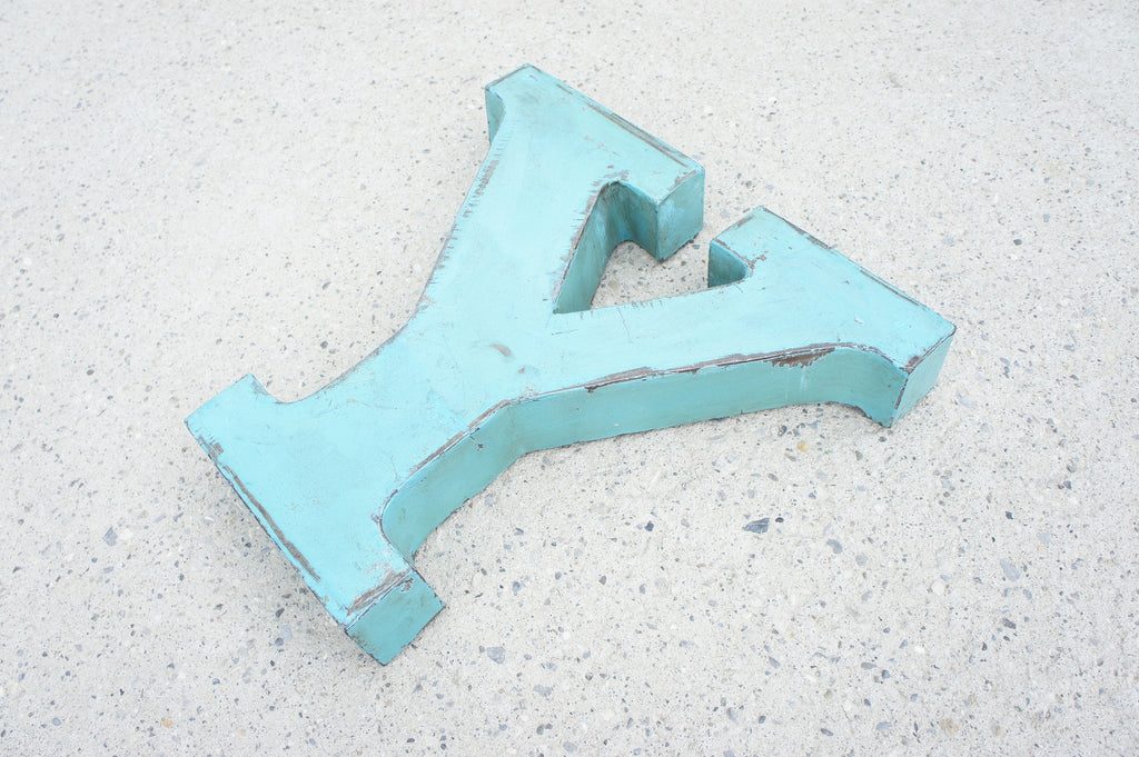 Blue Metal Letter U or Y