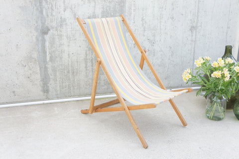 1950's Blue and Pink Deck Chair Garden Chair