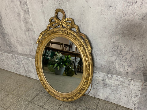 Gilded, Decorative Napoleon Oval Mercury Mirror