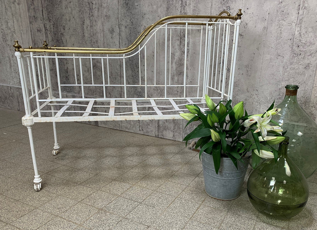 Brass and Wrought Iron Cot