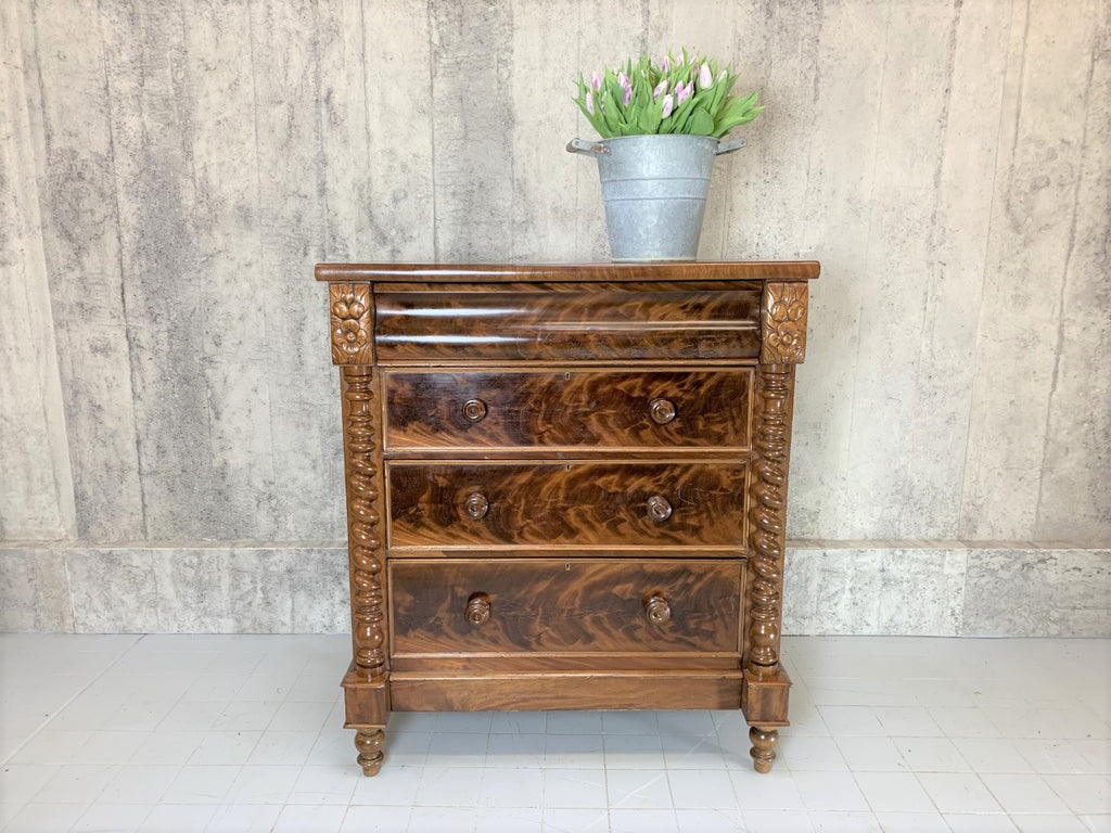 110cm Four Drawer Chest of Drawers with Flowers and Columns