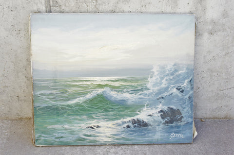 'Crashing Waves' Seascape Oil Painting Signed Garrel