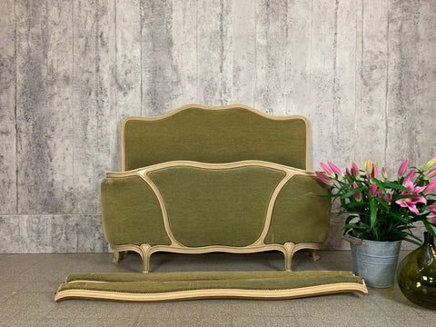 Green Velvet Upholstered Demi Corbeille Bed Frame to Reupholster