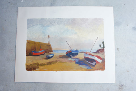 Fishing Boats at Low Tide' Seascape Acrylic on Card Painting Signed