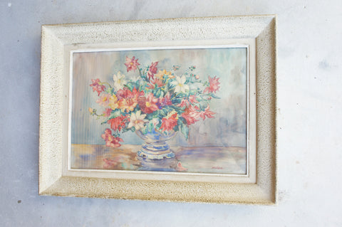 'Flowers in Vase' Watercolour Painting Signed
