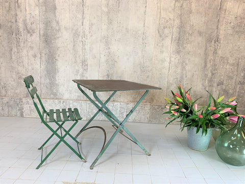 Folding Green Garden Table and Bistro Chair