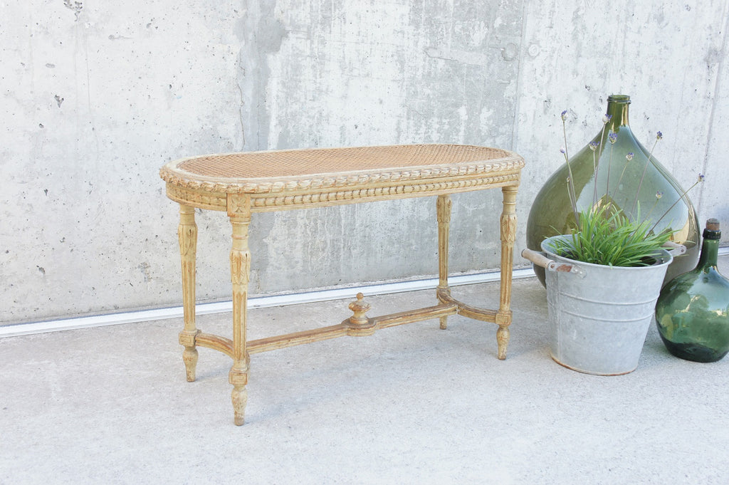 Carved, Decorative, French, Cane, Piano, Dressing Table Stool