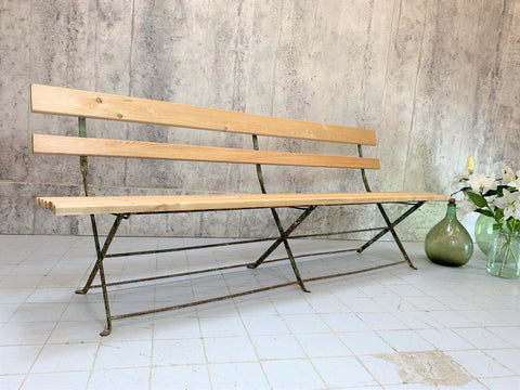 French Garden Bench with Original Painted Frame and New Larch Slats