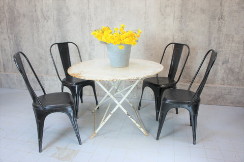 1920's Folding White Metal Garden Table and Four Black 1920's Tolix Style Metal Chairs