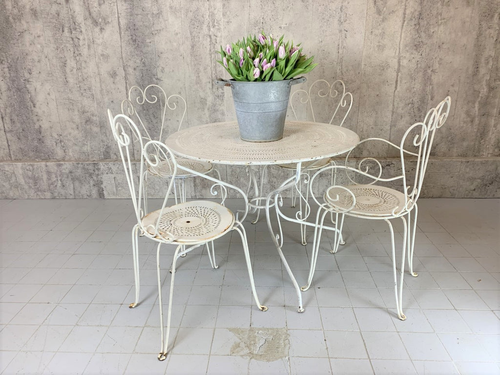 Set of White Metal Garden Table and Two Carver and Two Chairs