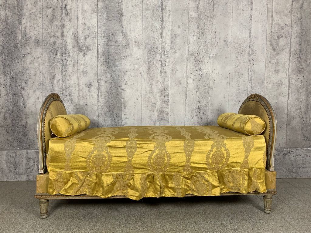 Louis XVI Style, Antique Day Bed, Repose Lit, In Original Gold Jacquard Fabric