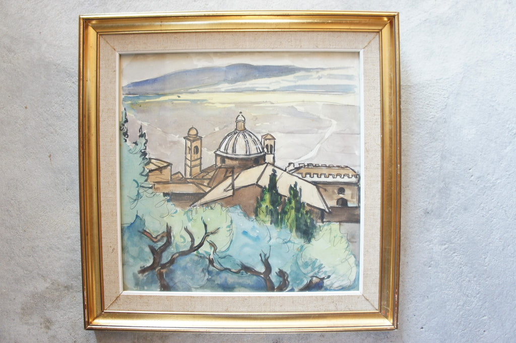 Gouache Watercolour of French Town Landscape