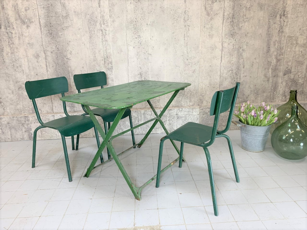 Folding Green Garden Table and Set of 3 Green Stacking Metal Chairs