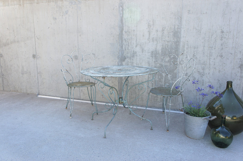 Set of Two Metal Garden Chairs and Circular Table
