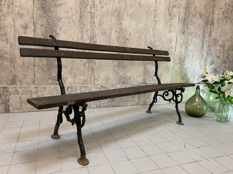 Cast Iron with Ivy Decoration and Wood Garden Bench