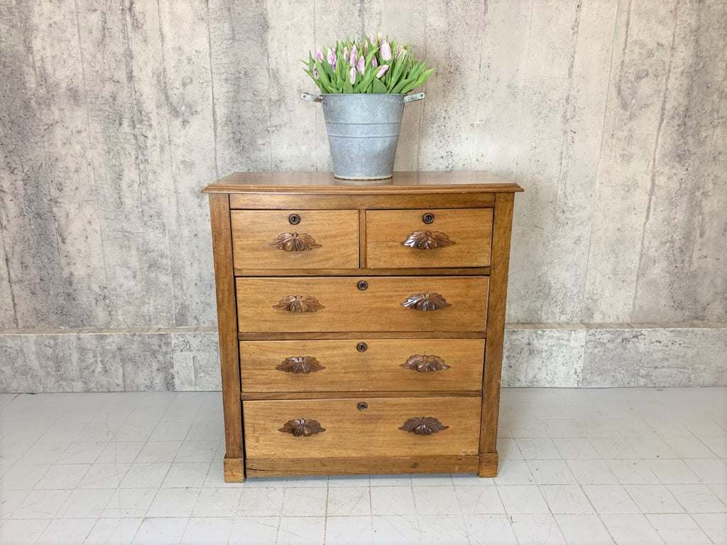 Mid 1800's 103cm Wide Two over Three Drawer Chest of Drawers