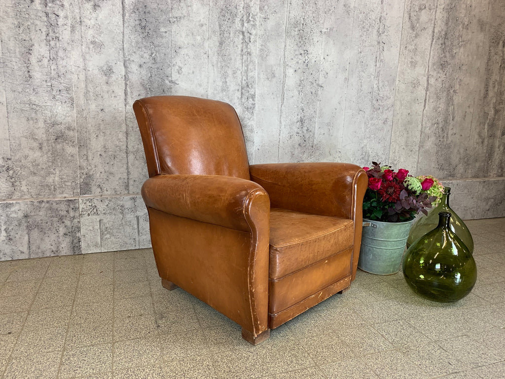 Mid Century French Leather Club Chair