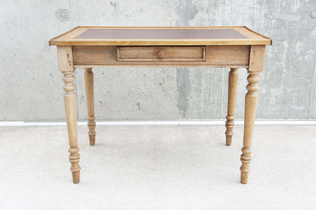 97cm Oak and Leather Top Table Desk Dressing Table