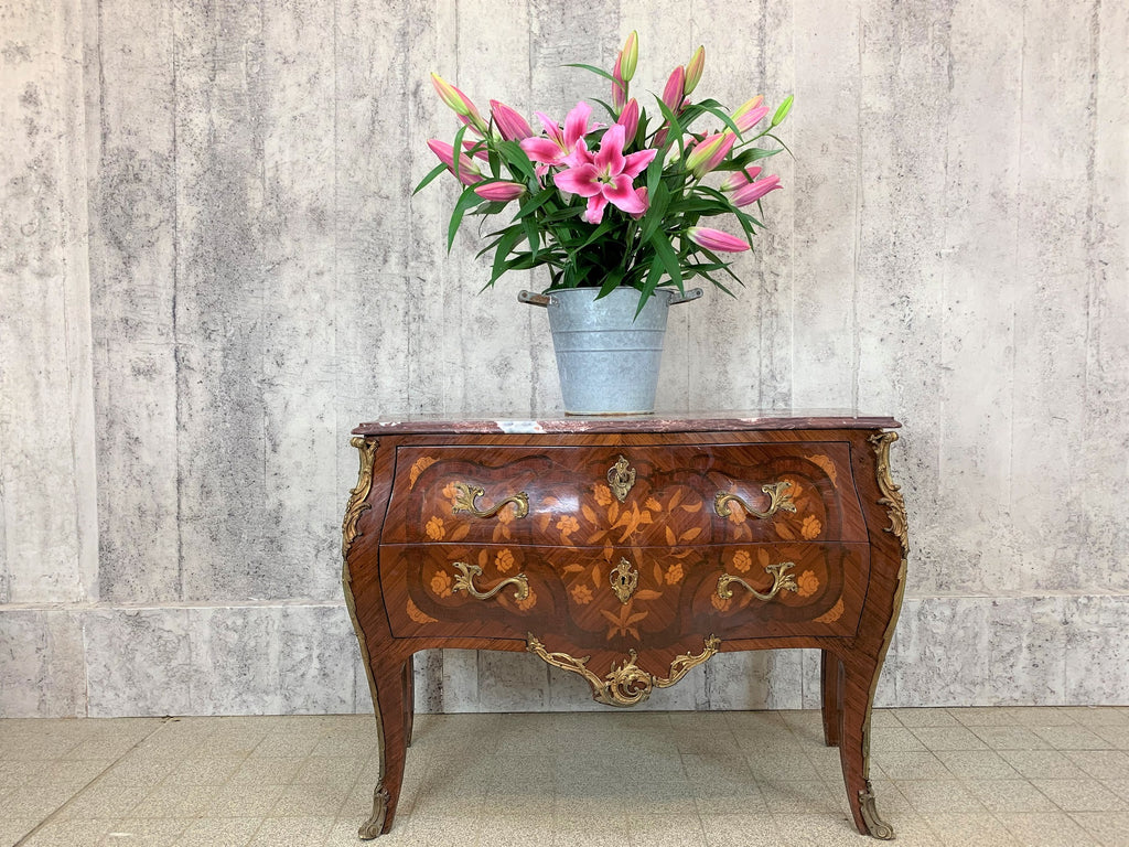 Louis XV Style Marble Topped Bombe Chest of Drawers Commode
