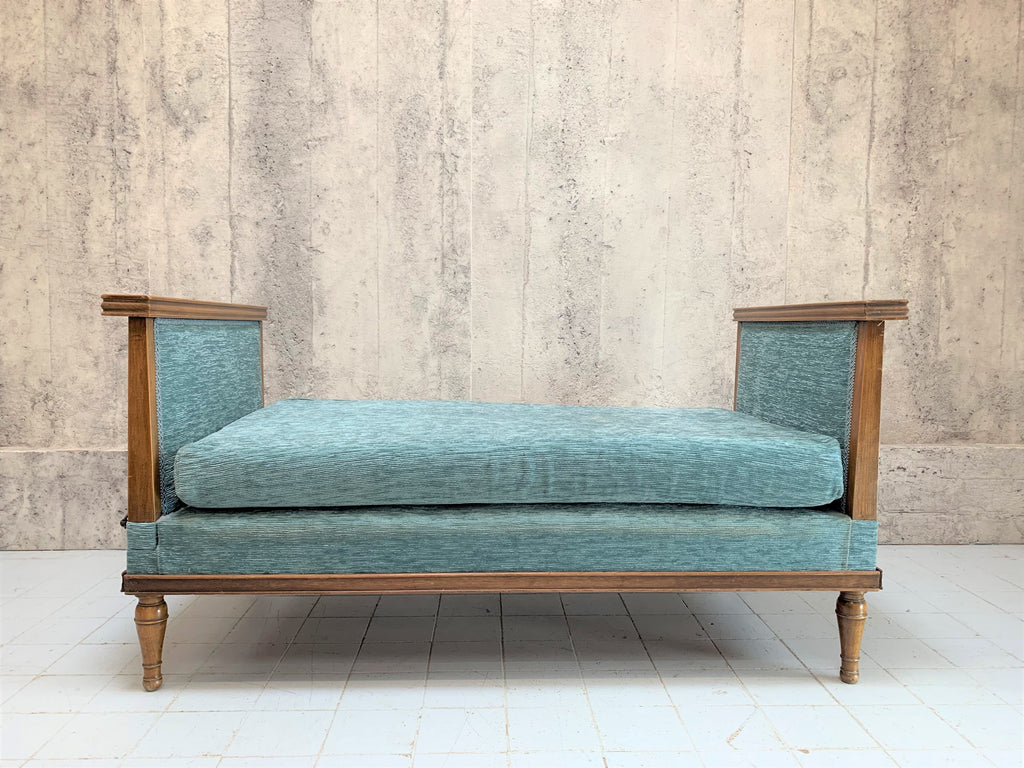 Mid Century Daybed with Original Blue Velvet Upholstery and Folding Side Table