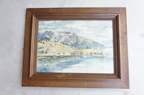 Mountain Reflected in Lake' Landscape Watercolour Signed