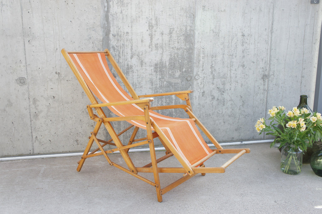 1950's Orange Reclining/Rocking Deck Chair with Footrest