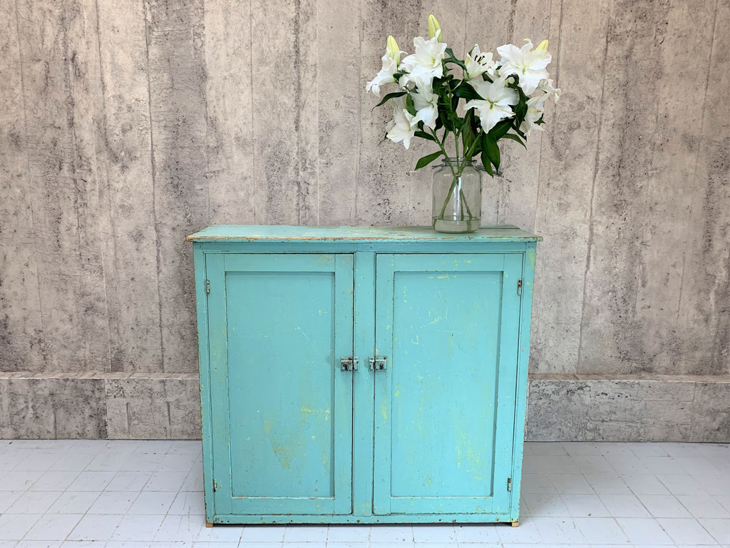 Original Painted Turquoise Blue French Storage Cupboard