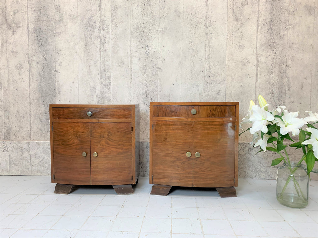 Two 1930's Bow Front, Veneer Bedside Cabinets